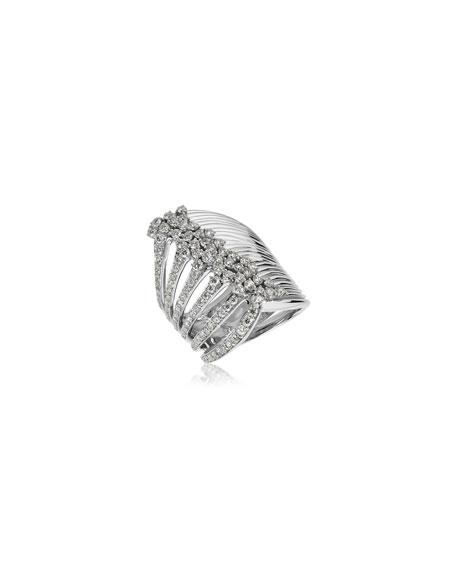 Hueb Plisse 18k White Gold Split Diamond Ring