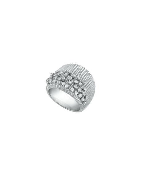 Hueb Plisse 18k White Gold Pleated Diamond Ring, Size 7.75