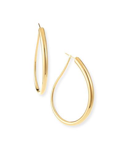 18k Gold Electroform Fancy Oblong Earrings