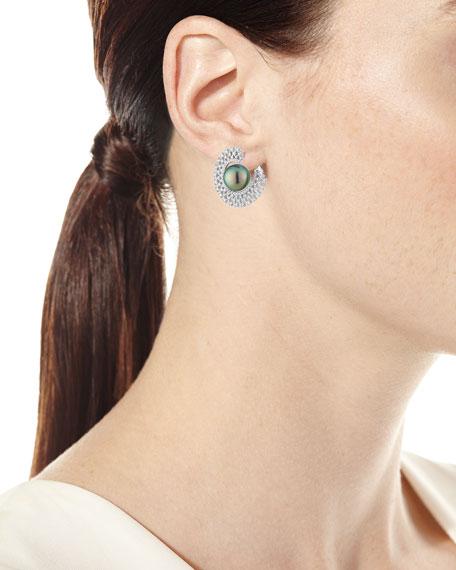 Belpearl 18k White Gold 10mm Tahitian Pearl & Diamond Hoop Earrings