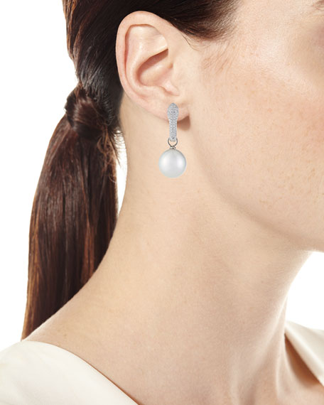 Belpearl 18k White Gold Diamond Pave & Pearl Drop Earrings