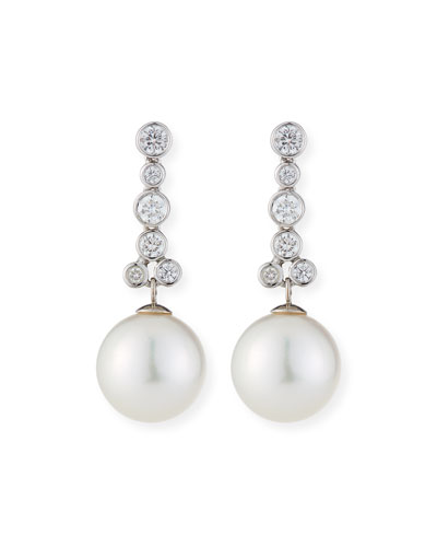 18k White Gold Linear Diamond & Pearl Earrings, White