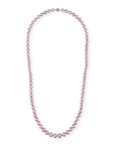 Long Kasumiga Pearls Necklace w/ 18k White Gold, Pink