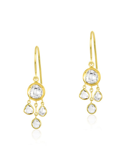 Kundan Vintage Diamond Triple Drop Earrings