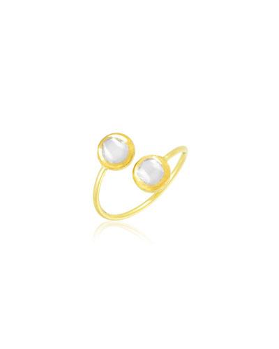 Kundan Vintage Diamond Bypass Ring, Size 6