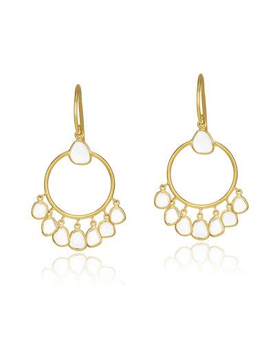 Polki Diamond Slice Hoop Drop Earrings