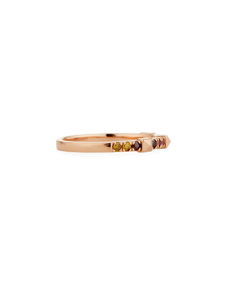 Stevie Wren 14k Rose Gold Warm Ombre Diamond & Pyramid Stackable Ring, Size 6.5