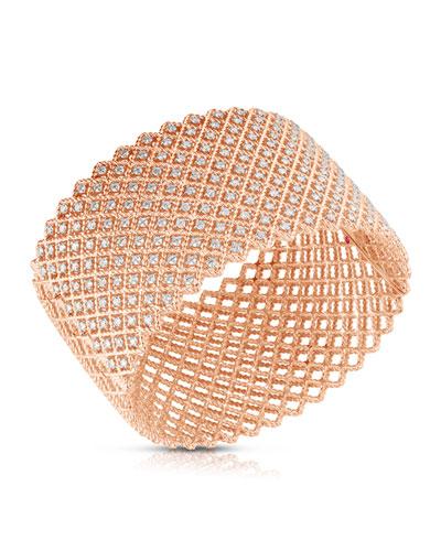 14k Rose Gold Diamond Wide Bangle