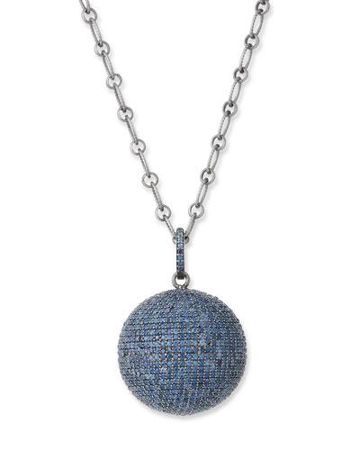 Blue Sapphire Ball Pendant Necklace