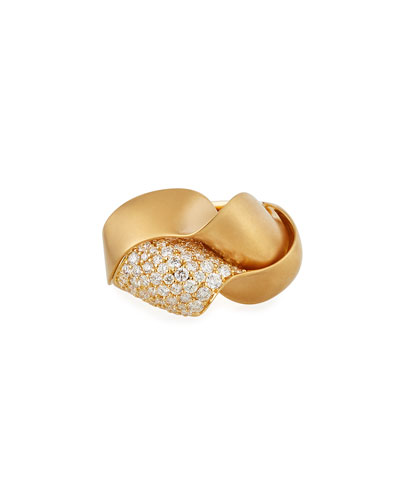 18k Gold Curvy Diamond Pave Ring