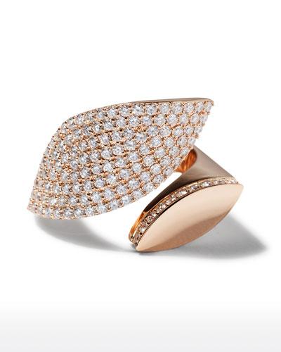 18k Rose Gold Diamond Petal Ring  Size 7
