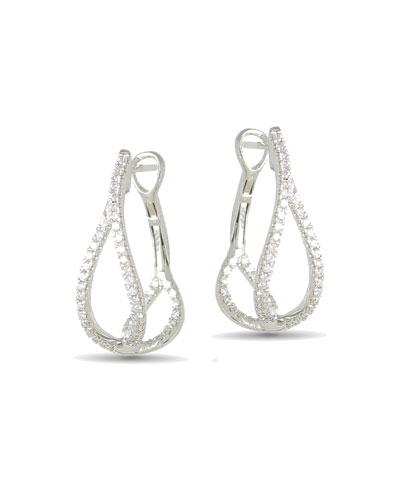 18k White Gold Diamond Crossover Hoop Earrings