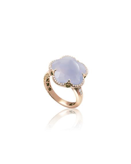 Pasquale Bruni Bon Ton 18k Rose Gold Chalcedony Ring w/ Diamonds