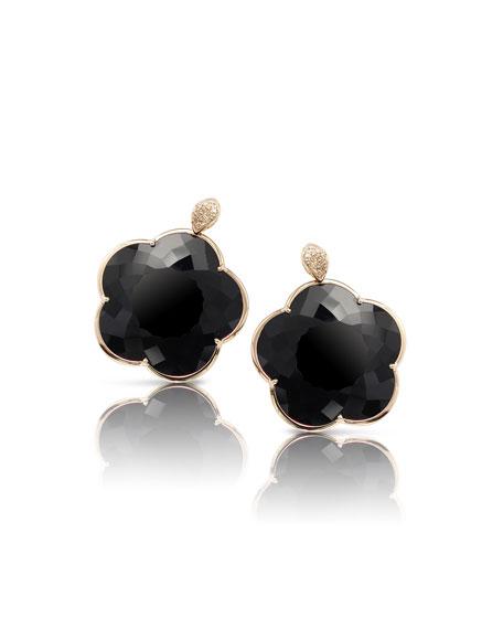 Pasquale Bruni Bon Ton 18k Rose Gold Black Onyx Earrings w/ Diamonds