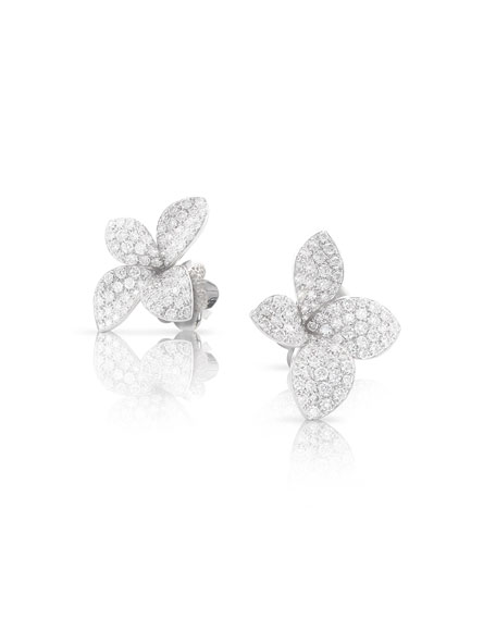 Pasquale Bruni Giardini Segreti 18k White Gold Diamond Stud Earrings