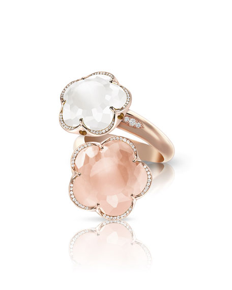 Pasquale Bruni Bon Ton 18k Rose Gold Quartz Bypass Ring, Size 6.5
