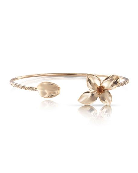 Pasquale Bruni Giardini Segreti 18k Rose Gold Diamond Flower Bangle