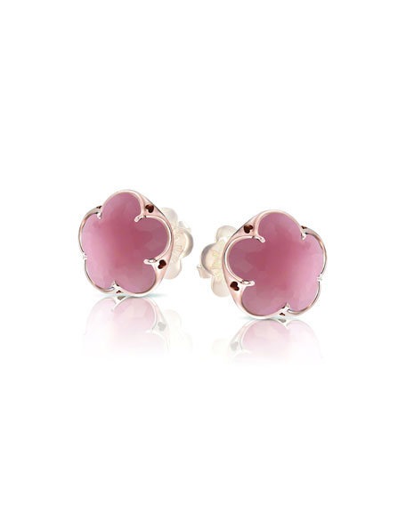 Pasquale Bruni Bon Ton 18k Rose Gold Pink Chalcedony Stud Earrings