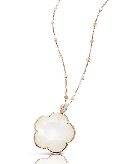 Pasquale Bruni Bon Ton 18k Rose Gold White Agate & Diamond Necklace