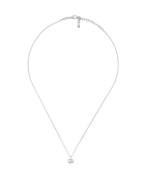 Gucci 18k White Gold GG Running Necklace w/ Diamond