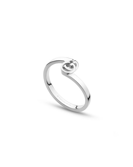Gucci 18k White Gold GG Running Ring, Size 6.75