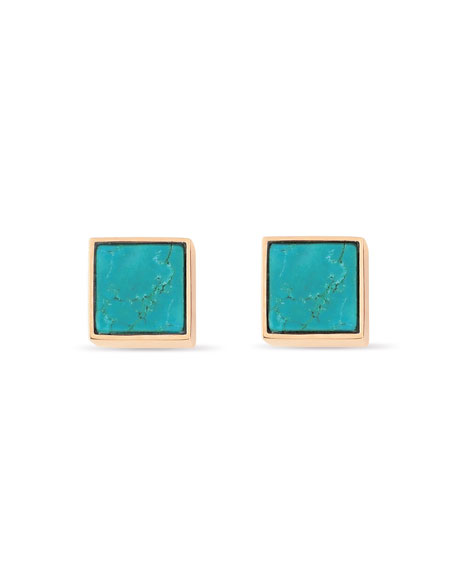 GINETTE NY Ever 18k Rose Gold Square Stud Earrings, Turquoise