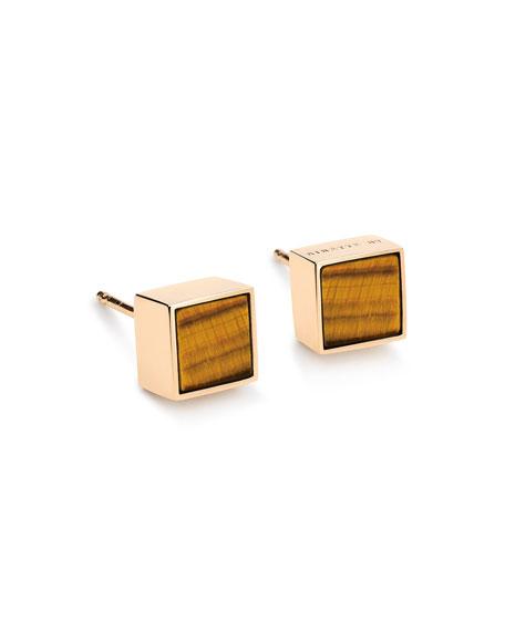 GINETTE NY Ever 18k Rose Gold Square Stud Earrings, Tiger Eye