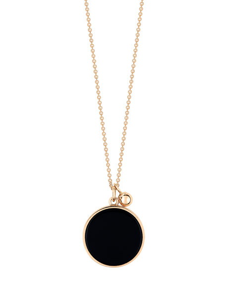 GINETTE NY Ever 18k Rose Gold Onyx Pendant Necklace