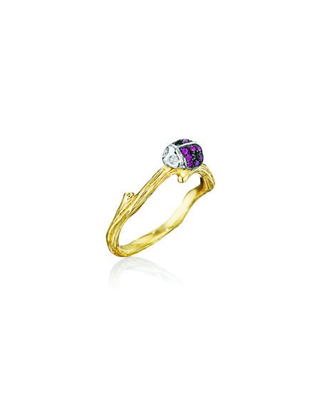 Mimi So Wonderland 18k Butterfly & Ladybug Ring, Size 7
