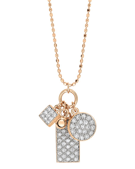 GINETTE NY Ever 18k Rose Gold Diamond 3-Charm Necklace