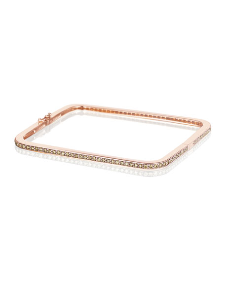 Mimi So Piece 18k Rose Gold Cocoa Diamond Square Bangle