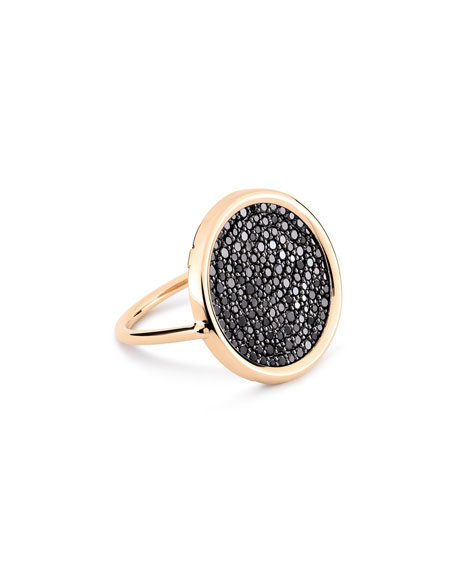 GINETTE NY Ever 18k Rose Gold Black Diamond Disc Ring, Size 7