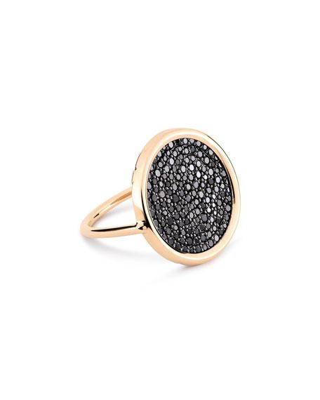 GINETTE NY Ever 18k Rose Gold Black Diamond Disc Ring, Size 6