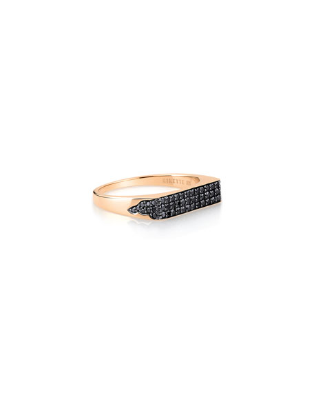GINETTE NY 18k Rose Gold Black Diamond Signet Ring, Size 6