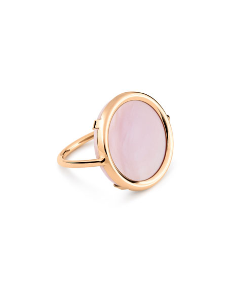 GINETTE NY Ever 18k Rose Gold Pink Mother-of-Pearl Disc Ring, Size 6