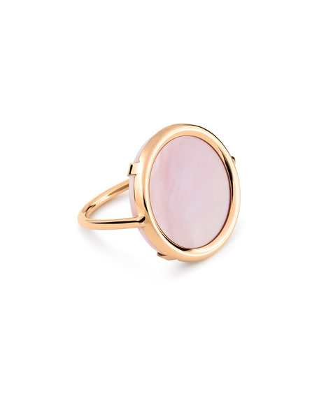 GINETTE NY Ever 18k Rose Gold Pink Mother-of-Pearl Disc Ring, Size 7