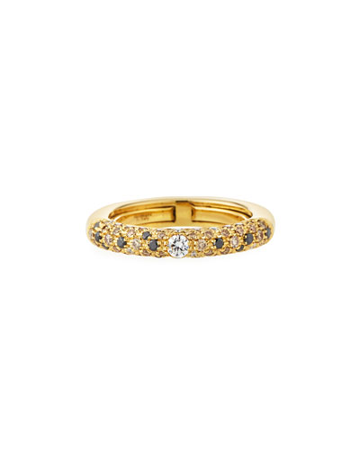 Jungle 18k Yellow Gold Ring w/ Light Diamonds  Size 6.75