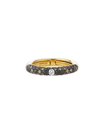 Jungle 18k Yellow Gold Ring w/ Dark Diamonds  Size 8.5