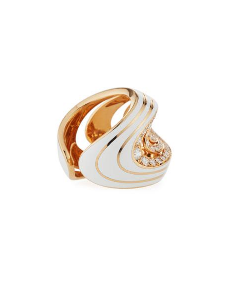 Gismondi 1754 Aura 18k Rose Gold Enamel & Diamond Ring