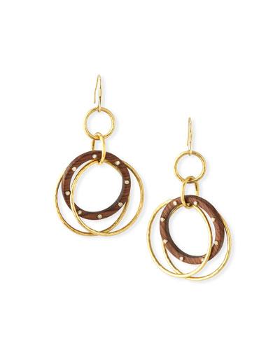 18k Wood Hoop Drop Earrings w/ Diamonds