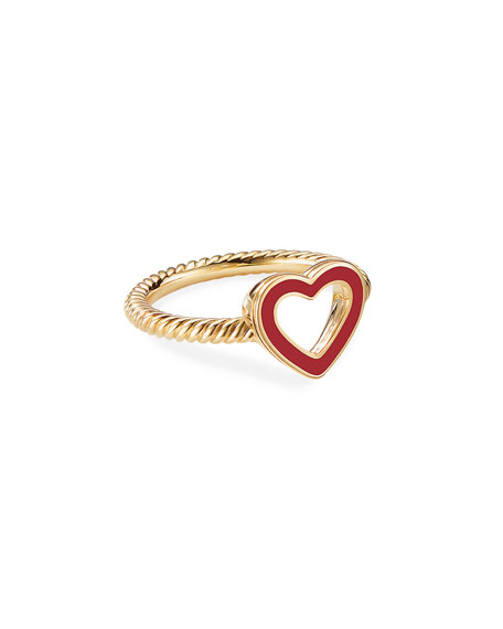 David Yurman Cable Collectibles 18k Gold Heart Ring in Red, Size 7