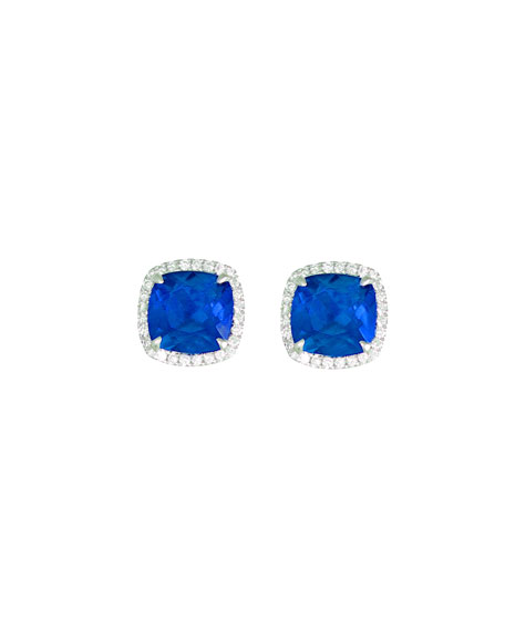 Frederic Sage 18k White Gold Sapphire Cushion & Diamond Earrings