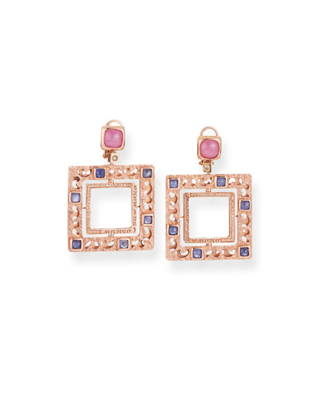Marco Dal Maso 18k Rose Gold Square Sapphire Drop Earrings