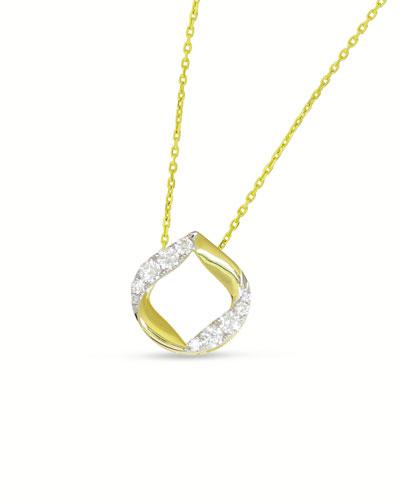 18k Large Half-Diamond Halo Kiss Pendant Necklace