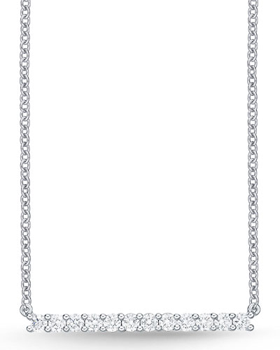 18k White Gold Small Diamond Bar Pendant Necklace
