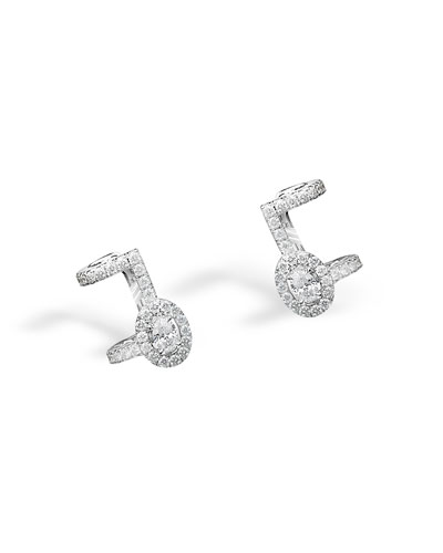 Amazone Pave Diamond Cuff Earrings in 18K White Gold