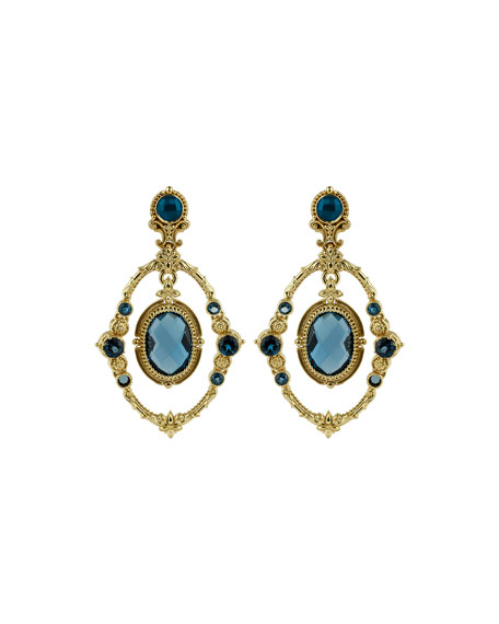 Konstantino 18k London Blue Topaz Oval Drop Earrings