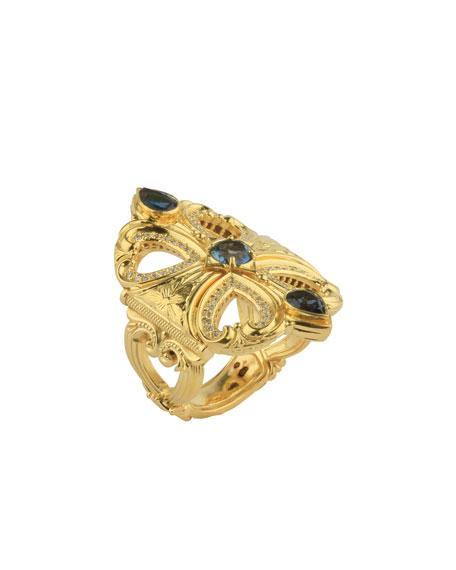 Konstantino 18k London Blue Topaz & Diamond Ring