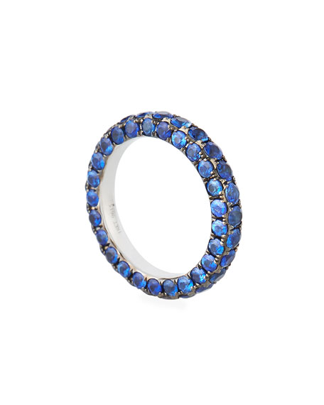 Graziela Gems 18k White Gold Blue Sapphire 3-Sided Ring, Size 7