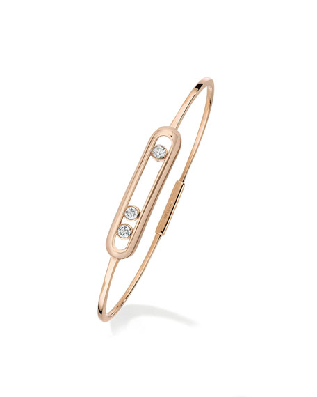 Messika Thin Move Bangle in 18K Pink Gold, Size M